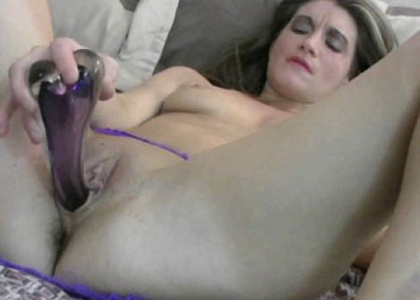 Horny MILF Constance plays with a dildo