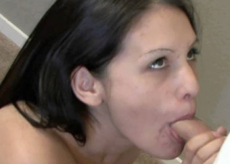 Brunette hottie Selena sucks some dick